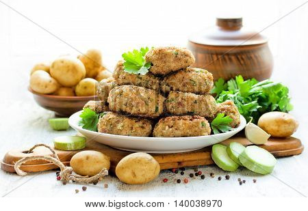 Homemade fried cutlets food composition in rural style selective focus