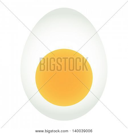 Egg icon isolated on white background. A half of egg in flat style. Vector illustration