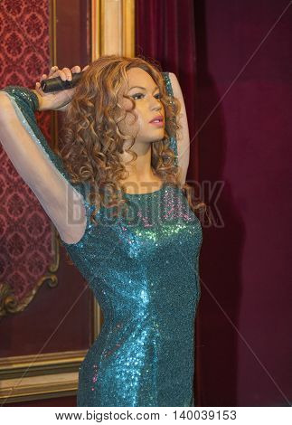 MADRID,SPAIN-MARCH 2016: Shakira wax figure in Madame  Tussauds Museum