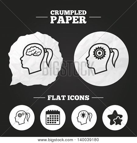 Crumpled paper speech bubble. Head with brain and idea lamp bulb icons. Female woman think symbols. Cogwheel gears signs. Paper button. Vector