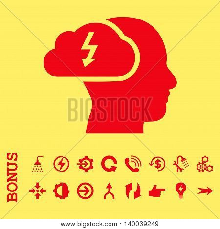 Brainstorming vector icon. Image style is a flat pictogram symbol, red color, yellow background.