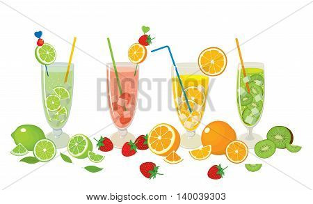 Vector collection of fresh citrus products - orange, lime with fruits - strawberry, kiwi and with Mojito cocktails, isolated on white background. Colorful illustration for design.