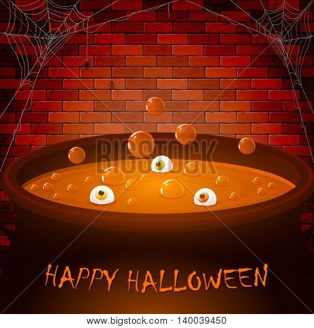 Halloween cauldron on a brick wall background with potion, bubbles and eyes, illustration.