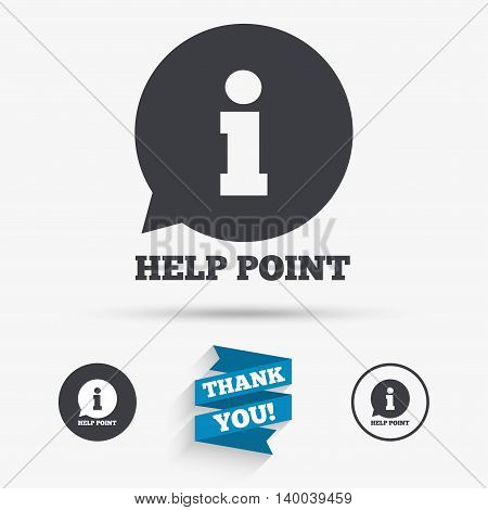 Help point sign icon. Information symbol. Flat icons. Buttons with icons. Thank you ribbon. Vector