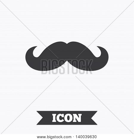 Hipster mustache sign icon. Barber symbol. Graphic design element. Flat mustache symbol on white background. Vector