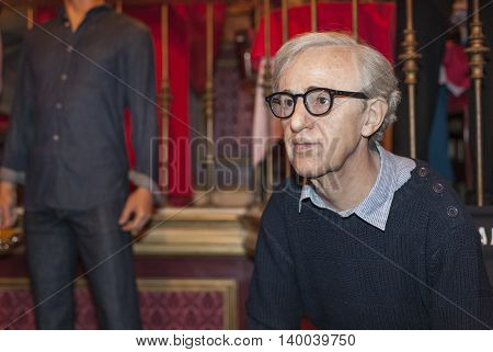 MADRID,SPAIN-MARCH 2016: Woody Allen wax figure in  Madame Tussauds Museum