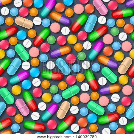 Seamless pattern with colorful medical tablets and pills on dark background