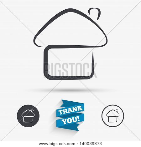 Home sign icon. Main page button. Navigation symbol. Flat icons. Buttons with icons. Thank you ribbon. Vector