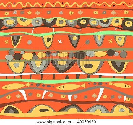 Seamless bright orange vector background with abstract pattern.
