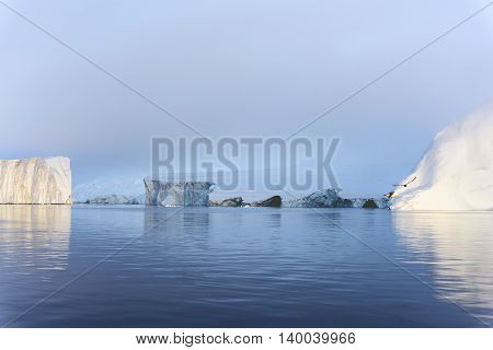 Glaciers are on the arctic ocean to Ilulissat fjord in Greenland