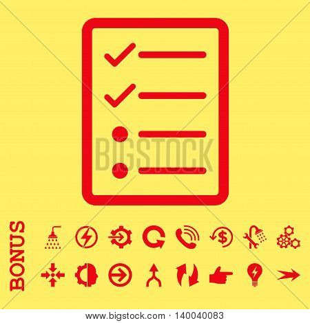 Checklist Page vector icon. Image style is a flat iconic symbol, red color, yellow background.