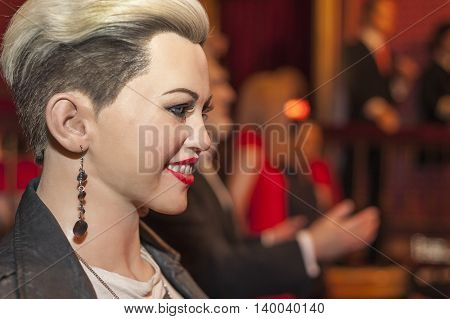 MADRID,SPAIN-MARCH 2016: Miley Cyrus wax figure  in Madame Tussauds Museum
