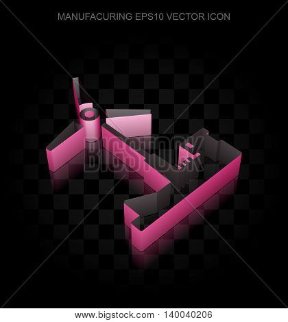 Industry icon: Crimson 3d Windmill made of paper tape on black background, transparent shadow, EPS 10 vector illustration.