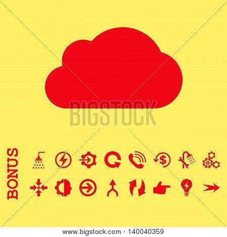 Cloud vector icon. Image style is a flat iconic symbol, red color, yellow background.