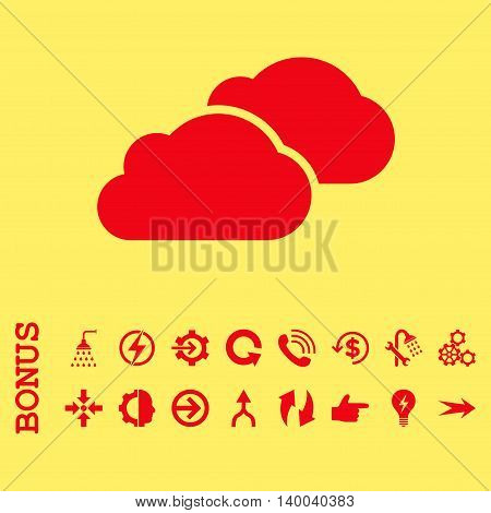 Clouds vector icon. Image style is a flat pictogram symbol, red color, yellow background.