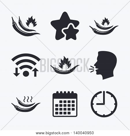 Hot chili pepper icons. Spicy food fire sign symbols. Wifi internet, favorite stars, calendar and clock. Talking head. Vector