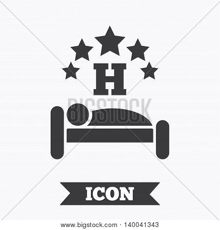 Five star Hotel apartment sign icon. Travel rest place. Sleeper symbol. Graphic design element. Flat hotel symbol on white background. Vector