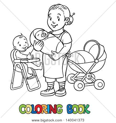Coloring book of funny nanny with a baby and another on the highchair near the stroller. Profession ABC series. Children vector illustration.