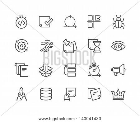 Simple Set of Agile Development Related Vector Line Icons. Contains such Icons as Back Log, Scram Master, Product Release, QA and more. Editable Stroke. 48x48 Pixel Perfect.