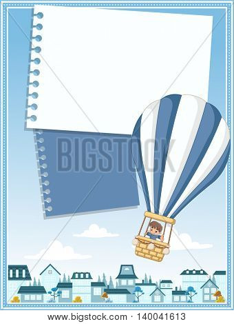 Card with cartoon baby boy inside a hot air balloon flying over a suburb neighborhood of a blue city.