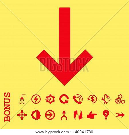 Down Arrow vector icon. Image style is a flat pictogram symbol, red color, yellow background.