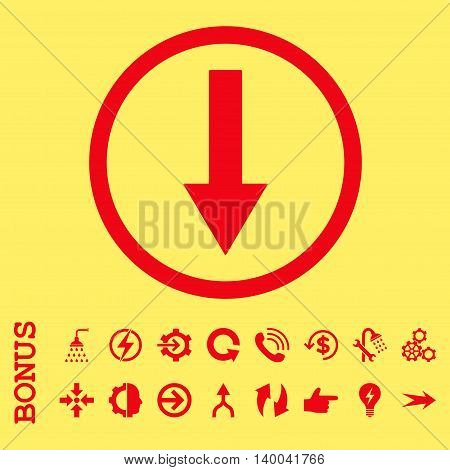 Down Rounded Arrow vector icon. Image style is a flat pictogram symbol, red color, yellow background.