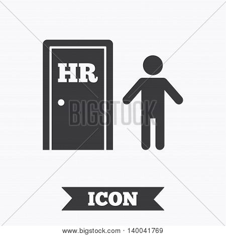 Human resources sign icon. HR symbol. Workforce of business organization. Man at the door. Graphic design element. Flat human resources symbol on white background. Vector