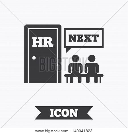 Human resources sign icon. Queue at the HR door symbol. Workforce of business organization. Graphic design element. Flat human resources symbol on white background. Vector