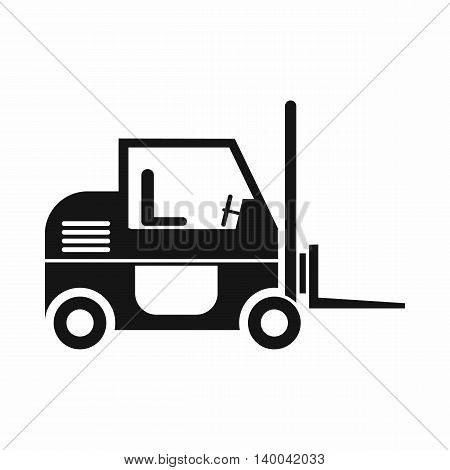 Forklift icon in simple style isolated on white background. Cargo transport symbol