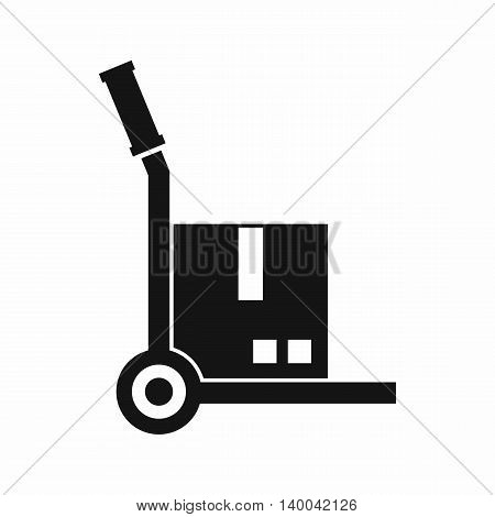Truck with cargo icon in simple style isolated on white background. Transport symbol