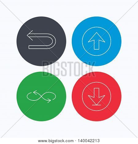 Arrows icons. Download, repeat and shuffle linear signs. Upload, back arrow flat line icons. Linear icons on colored buttons. Flat web symbols. Vector