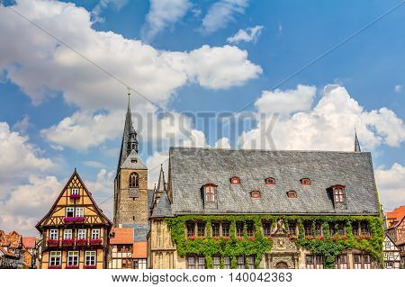 Half-timbered Houses And Town Hall In Quedlinburg, Germany
