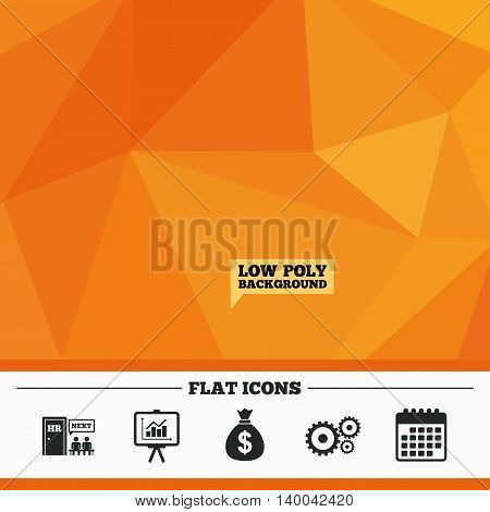 Triangular low poly orange background. Human resources icons. Presentation board with charts signs. Money bag and gear symbols. Man at the door. Calendar flat icon. Vector