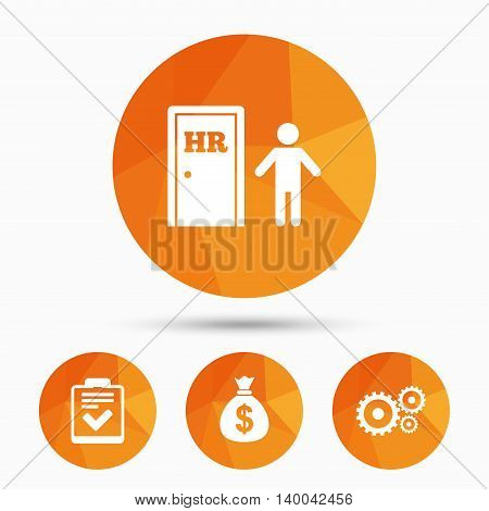 Human resources icons. Checklist document sign. Money bag and gear symbols. Man at the door. Triangular low poly buttons with shadow. Vector