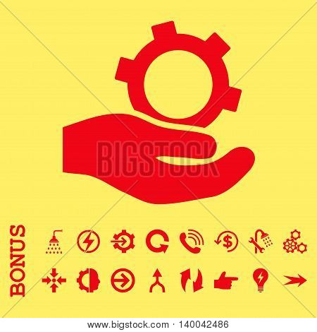 Engineering Service vector icon. Image style is a flat pictogram symbol, red color, yellow background.