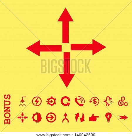 Expand Arrows vector icon. Image style is a flat pictogram symbol, red color, yellow background.