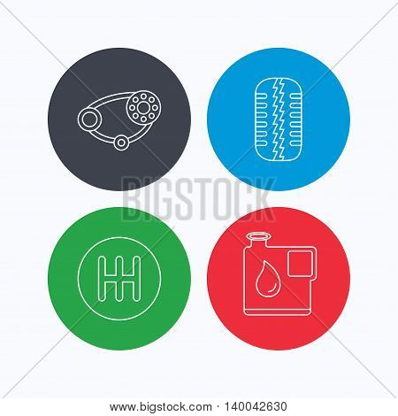 Wheel, manual gearbox and timing belt icons. Fuel jerrycan, manual transmission linear signs. Linear icons on colored buttons. Flat web symbols. Vector