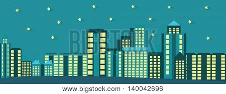 Silhouette of the night city vector illustration