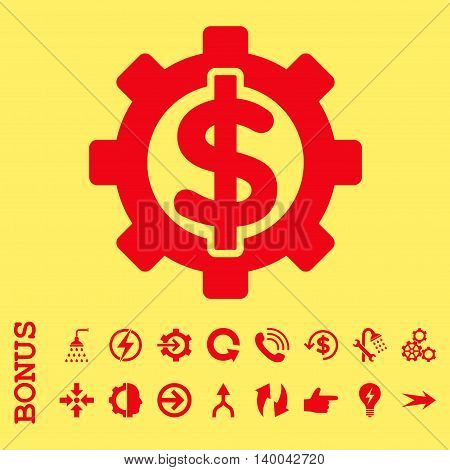 Financial Options vector icon. Image style is a flat iconic symbol, red color, yellow background.