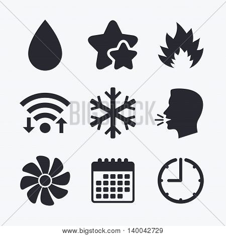 HVAC icons. Heating, ventilating and air conditioning symbols. Water supply. Climate control technology signs. Wifi internet, favorite stars, calendar and clock. Talking head. Vector