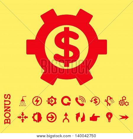 Financial Settings vector icon. Image style is a flat iconic symbol, red color, yellow background.