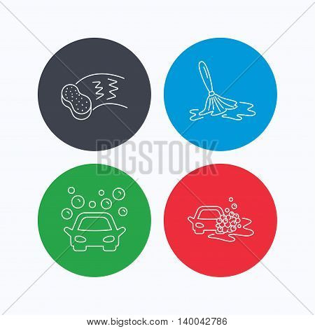 Car wash icons. Automatic cleaning station linear signs. Hand wash, sponge flat line icons. Linear icons on colored buttons. Flat web symbols. Vector
