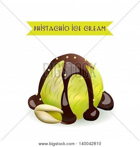 Pistachio Ice Cream Scoop. Nut Flavor with liquid chocolate. Vector Isolated Product.