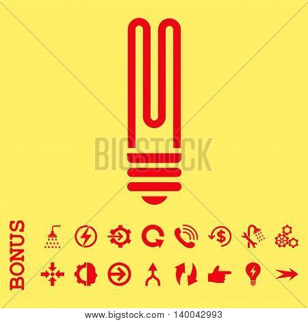 Fluorescent Bulb vector icon. Image style is a flat pictogram symbol, red color, yellow background.