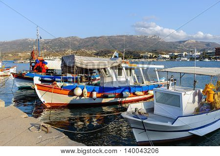Traditional Greek fishing boats at port of sitia town on Crete island