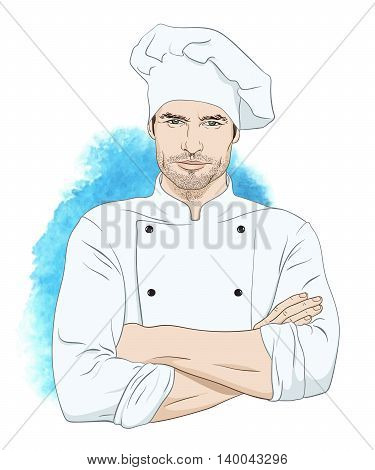Cheerful handsome man chef isolated vector illustration