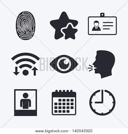 Identity ID card badge icons. Eye and fingerprint symbols. Authentication signs. Photo frame with human person. Wifi internet, favorite stars, calendar and clock. Talking head. Vector