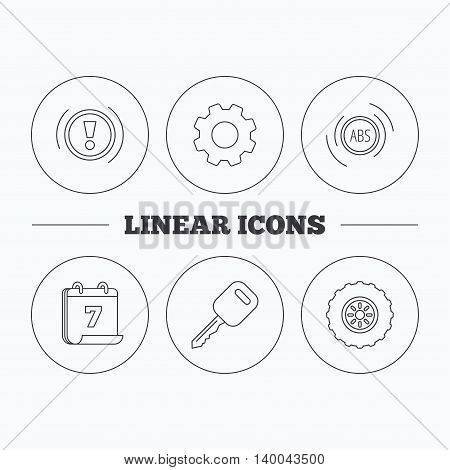 Car key, abs and wheel icons. Warning ABS, attention linear signs. Flat cogwheel and calendar symbols. Linear icons in circle buttons. Vector