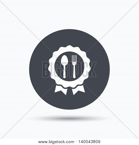 Award medal icon. Food winner emblem symbol. Fork and spoon signs. Flat web button with icon on white background. Gray round pressbutton with shadow. Vector