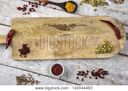 Spices on the Board in the Indian style, place for text